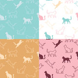 Animal cat silhouettes seamless pattern blue pink beige white illustration Stock Photography