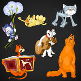 Animal cats clipart cartoon style  illustration black Stock Image