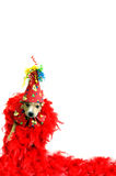 Animal Celebrating. Background image shows cute party animal puppy wrapped in red boa feathers, wearing a bow tie and party hat. Celebrating New Years, birthday Royalty Free Stock Photos