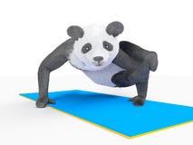 Animal character personage panda doing yoga Stock Images