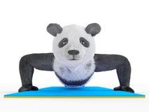 Animal character personage panda doing yoga Royalty Free Stock Image