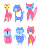 Animal Characters. A set of cheerful and colorful animal characters Stock Images