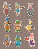 Animal chef stickers Royalty Free Stock Image