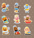 Animal chef stickers Stock Images