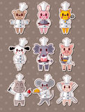 Animal chef stickers Stock Photos