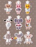 Animal chef stickers Stock Photos