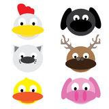 Animal chicken dog cat dear duck pig cartoon Stock Photo