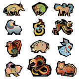 Animal china horoscope. Clip-art characters of horoscope royalty free illustration