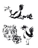 Animal chinese brush painting drawing. Tiger, rooster and bird c Stock Photos