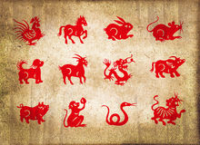 Animal of the chinese zodiac, sepia textured background Stock Photos