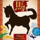 Animal chino del zodiaco: Caballo con los sellos, el globo, los boletos y los pétalos, ejemplo del vector ilustración del vector