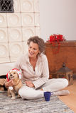 Animal Christmas spirit at a Senior with your dog. Senior in the Christmas mood sitting comfortably on the floor in front of a fireplace in the living room royalty free stock photo