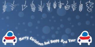 Animal Christmas theme. Illustrated Christmas theme with cars, blue tone stock illustration
