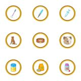 Animal clinic icons set, cartoon style Stock Image