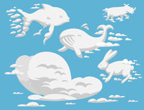 Animal clouds silhouette pattern vector illustration abstract sky cartoon environment natural ornament Stock Photo