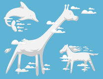 Animal clouds silhouette pattern vector illustration abstract sky cartoon environment natural wilding beast ornament Stock Photos