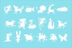 Animal clouds white silhouette set, kid imagination sweet dreams vector Illustrations royalty free illustration
