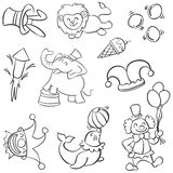Animal and clown circus doodles Stock Images