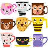 Animal Coffee Mugs / Cups. Vector collection of Coffee Cup and Mug with different animal patterns Stock Photo