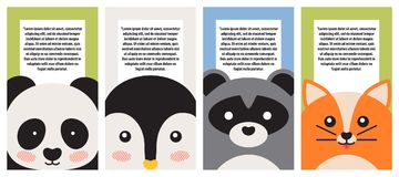 Animal Collection, Closeup Faces, Vector Banner. With panda bear, penguin and raccoon, cute fox, animal s portraits set, illustration with text sample Royalty Free Stock Image