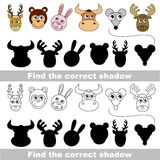Animal collection. Find correct shadow. Animal set with shadows to find the correct one. Compare and connect objects Stock Photo