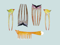 An animal collection of hairbrushes and hairpins for kids for professional hair stylists and moms Stock Photos