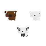 Animal collection including bear, polar bear and panda Stock Photos