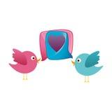 animal coloré d'oiseau de bande dessinée de couples avec l'icône de coeur de zone de dialogue Photographie stock libre de droits
