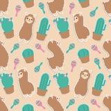 Animal colorido pastel bonito dos desenhos animados da alpaca ou do lama com teste padrão gráfico sem emenda da ilustração dos ca ilustração do vetor