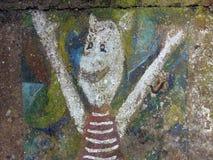 Animal colorido pintado na parede velha imagem de stock
