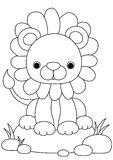 Animal coloring page lion. Activity sheet stock illustration