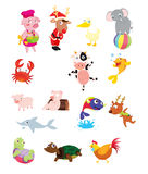 Animal compilation. Illustration of a mixed bunch of animals Royalty Free Stock Photography