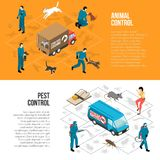 Animal Control Isometric Horizontal Banners. Stray animals pest control agency services 2 isometric horizontal infographic elements banners with text  vector Royalty Free Stock Photos