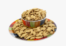 Animal Crackers on Plate Stock Photo