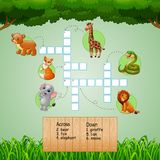 Animal crossword puzzles for kids games stock illustration