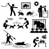 Animal Cruelty Abuse by Human. A set of pictograms representing the cruel activity of animal abusers on animals vector illustration