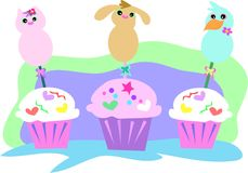 Animal Cupcakes Royalty Free Stock Photography
