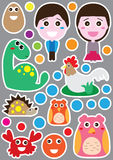 Animal cute big sticker magnet cut set Royalty Free Stock Photos