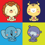 Animal cute character collection. 4 color background, lion, giraffe,elephant and hippo Royalty Free Stock Photography