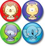 Animal cute in circles sheet. Lion, giraffe, hippo, elephant Stock Photos