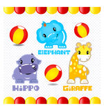 Animal cute collection. So cute elephant, hippo, giraffe and rubber ball Royalty Free Stock Image