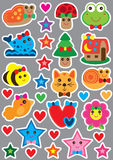 Animal cute small sticker magnet cut set. This illustration is drawing and design full page print handmade easy cut shape with cute animal and natural Royalty Free Stock Image