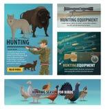Animal da época de caça e pássaro, munição do caçador ilustração stock