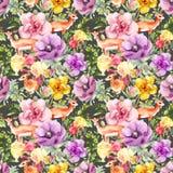 Animal da gazela nas flores Repetindo o teste padrão floral watercolor ilustração royalty free
