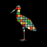 Animal da silhueta da cor do pássaro da garça-real Imagens de Stock Royalty Free