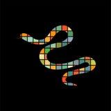 Animal da silhueta da cor do réptil da serpente ilustração stock