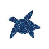 Animal da silhueta da cor do réptil da tartaruga de mar ilustração stock