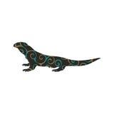 Animal da silhueta da cor do réptil do lagarto de Varan ilustração stock