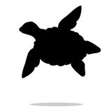 Animal da silhueta do preto do réptil da tartaruga de mar Foto de Stock Royalty Free