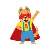 Animal de chiot habillé comme super héros avec un caractère masqué comique de surveillant de cap illustration stock